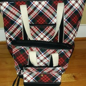 LAND'S END PLAID TOTE BAG SET